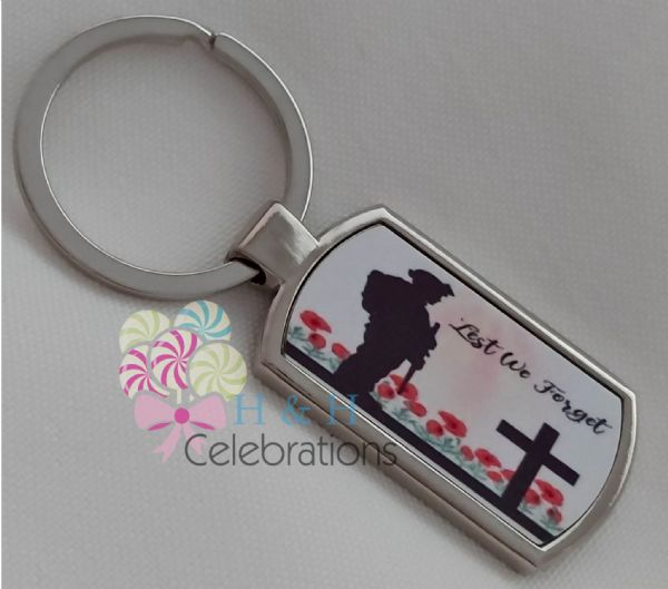 Lest We Forget Metal Key Ring